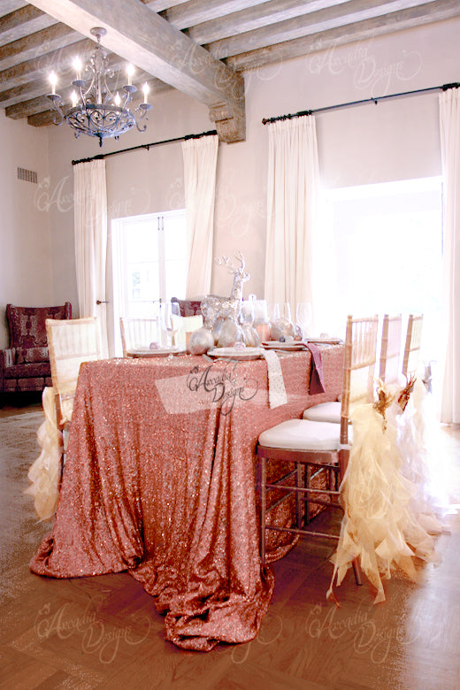 arcadia designs rose gold sequin tablecloth event reception table decoration