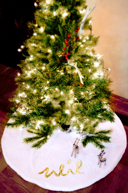 Arcadia Designs Sequin Snow White Faux Fur Christmas Tree Skirt made in USA