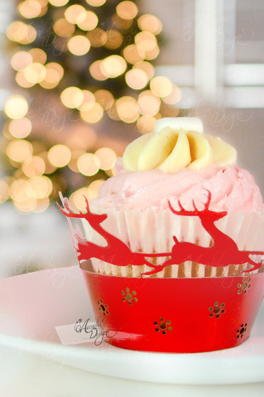 Arcadia Designs Christmas winter reindeer laser cut paper cupcake wrapper