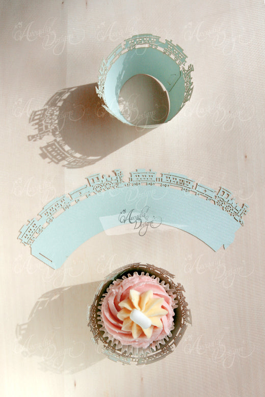 arcadia designs train cupcake wrapper for boy birthday party babyshower