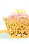 Arcadia Designs Damask Lace laser cut paper shimmery Cupcake Wrappers gold