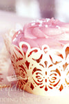 Arcadia Designs Damask Lace laser cut paper shimmery Cupcake Wrappers Ivory