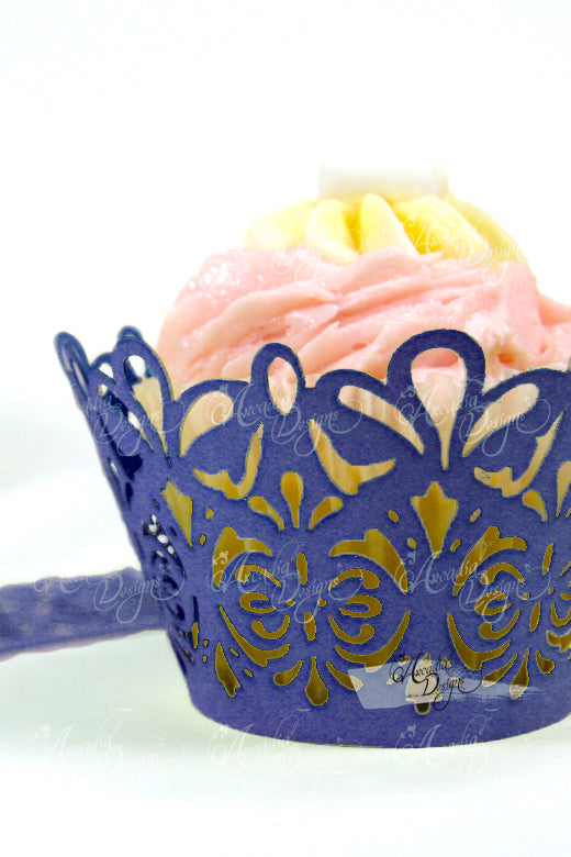 Arcadia Designs Damask Lace laser cut paper shimmery Cupcake Wrappers navy blue