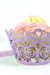 Arcadia Designs Damask Lace laser cut paper shimmery Cupcake Wrappers light purple