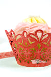 Arcadia Designs Damask Lace laser cut paper shimmery Cupcake Wrappers red