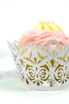 Arcadia Designs Damask Lace laser cut paper shimmery Cupcake Wrappers silver grey