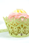Arcadia Designs Damask Lace laser cut paper shimmery Cupcake Wrappers light green