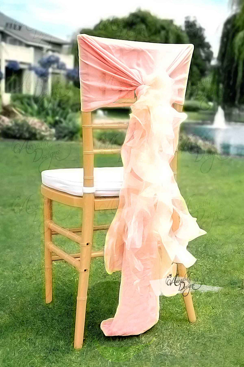 Arcadia Designs Silky White Chiffon Ruffled Chair Sash Blush Pink