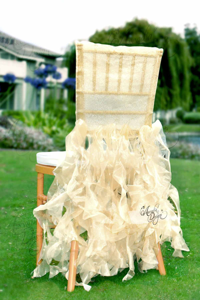 Arcadia Designs Sheer White Ruffled Bridal Chair Cover Light Gold