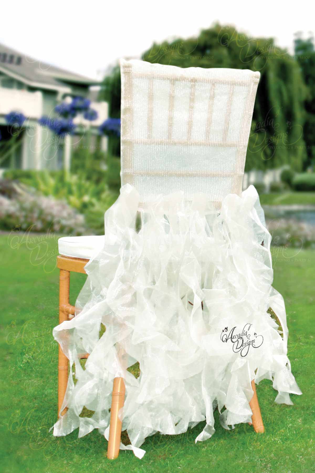 Arcadia Designs Sheer Pink Ruffled Bridal Chair Cover White