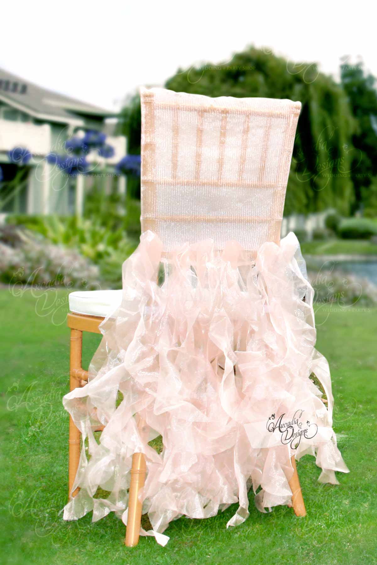 Arcadia Designs Sheer White Ruffled Bridal Chair Cover Pink