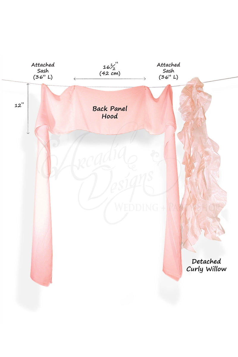 Arcadia Designs Soft Pink Chiffon Ruffled Chair Sash Blush Pink White