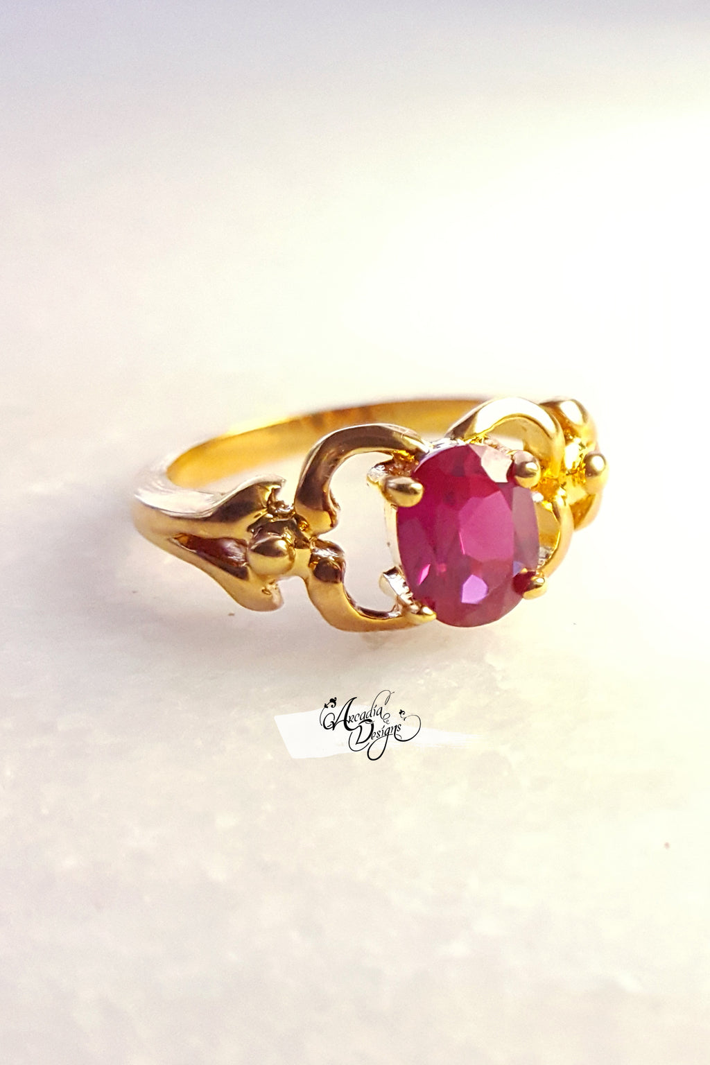 Arcadia Designs Garnet Gemstone Gold Ring January Birthstone Siam Quartz Ring
