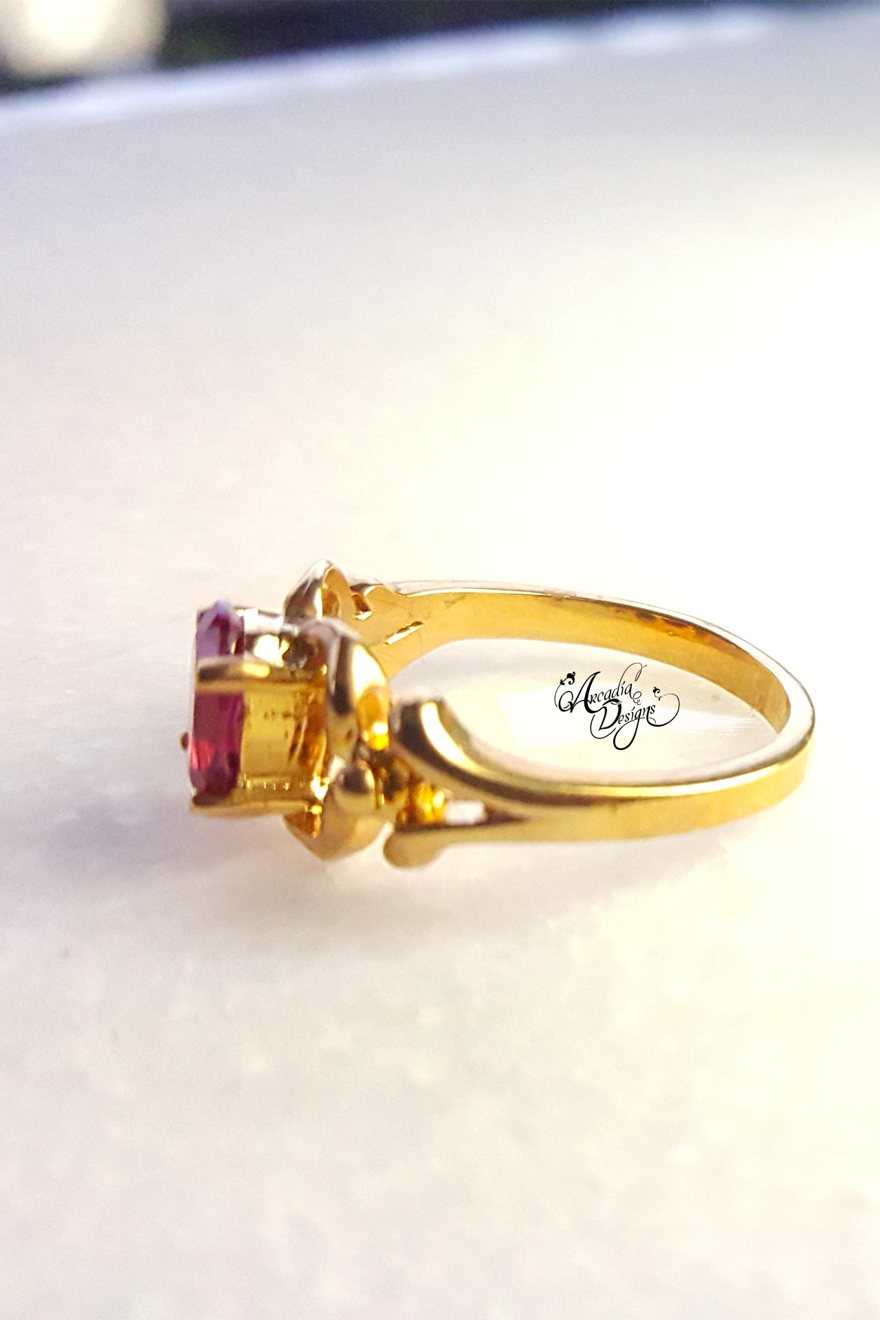Arcadia Designs Garnet Gemstone Gold Ring. January Birthstone Siam Quartz Ring