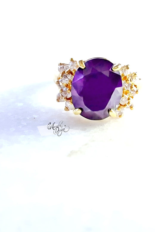 Arcadia Designs solitaire Amethyst Gemstone Gold Ring February Birthstone Lavender Crystal Ring One of a kind Art Deco Oval Gem Jewelry Gift for Her Bridesmaid Ring