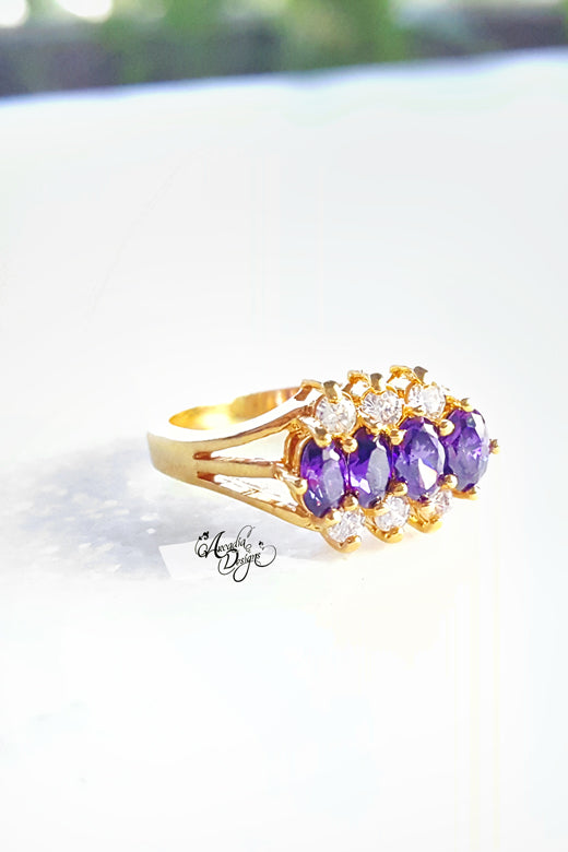 Arcadia Designs mothers ring Amethyst Gemstone and Crystal Quartz Golden February Birthstone Purple Stone Jewelry Victorian Style Violet Oval Gem Ring
