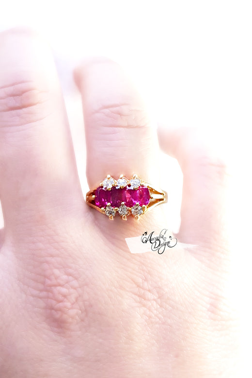 Arcadia Designs mothers ring garnet Gemstone and Crystal Quartz Golden january birthstone red Stone Jewelry Victorian Style Oval Gem Ring