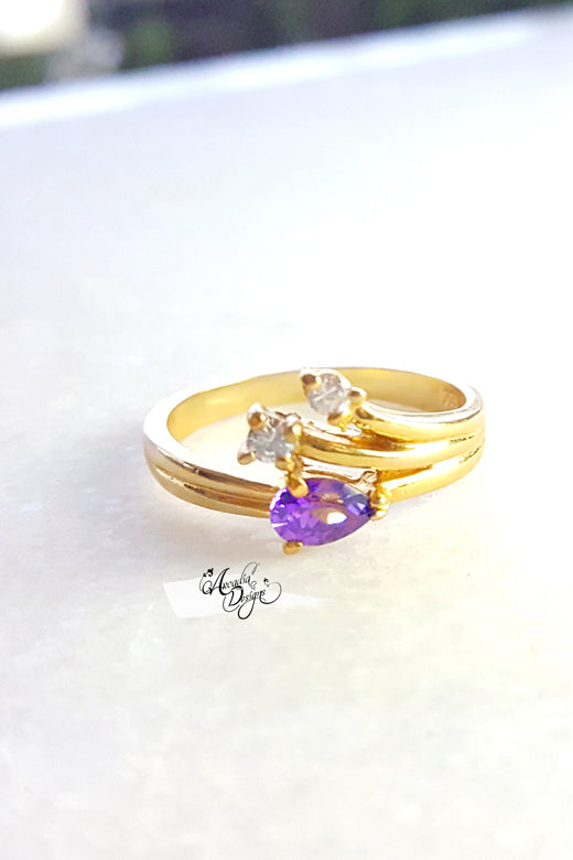 Arcadia Designs Starry night Amethyst Gemstone and Crystal Quartz Gold Ring. February Birthstone Purple Stone Jewelry art deco style Violet Gem Ring