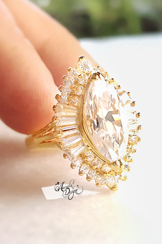 Arcadia Designs Marquis Princess Clear Quartz Radiant Golden Ring April Birthstone Heart Shape Crystal Stone statement Ring