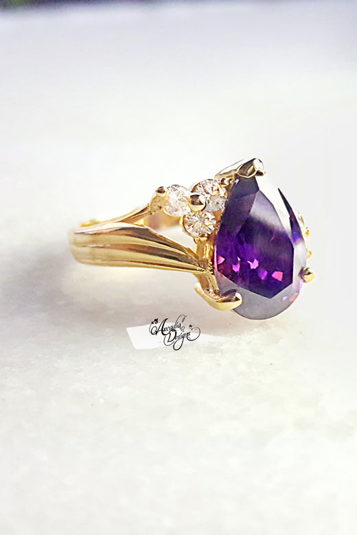 Arcadia Dessigns Amethyst Gemstone Quartz Golden Ring Tear Drop Prong Purple Stone Jewelry Violet Pear Shape Gem Ring Bridal Ring Gift