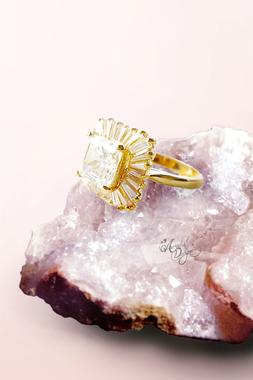Arcadia Designs Clear Quartz Radiant Party Gold Ring April Birthstone Square Shape Crystal Stone statement Ring