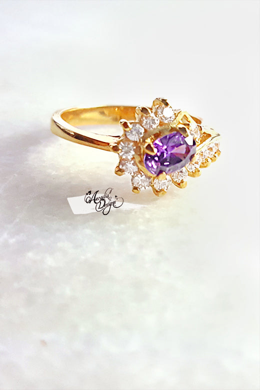 Arcadia Designs Purple moon and starry night Gemstone Ring Amethyst Gold Ring February Birthstone Lavender Crystal Ring One of a kind Art Deco Oval Gem Jewelry Gift for Her Bridesmaid Ring