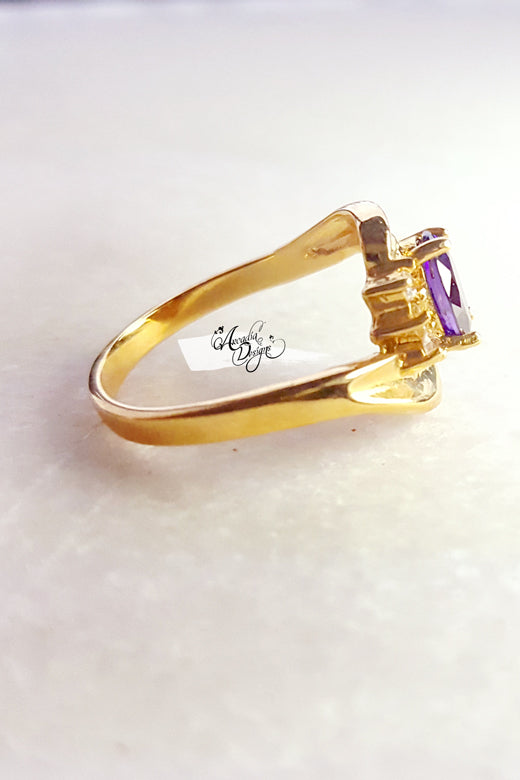 Arcadia Designs Whirlpool Gemstone Ring Amethyst Gold Ring February Birthstone Lavender Crystal Ring One of a kind Art Deco Oval Gem Jewelry Gift for Her Bridesmaid Ring