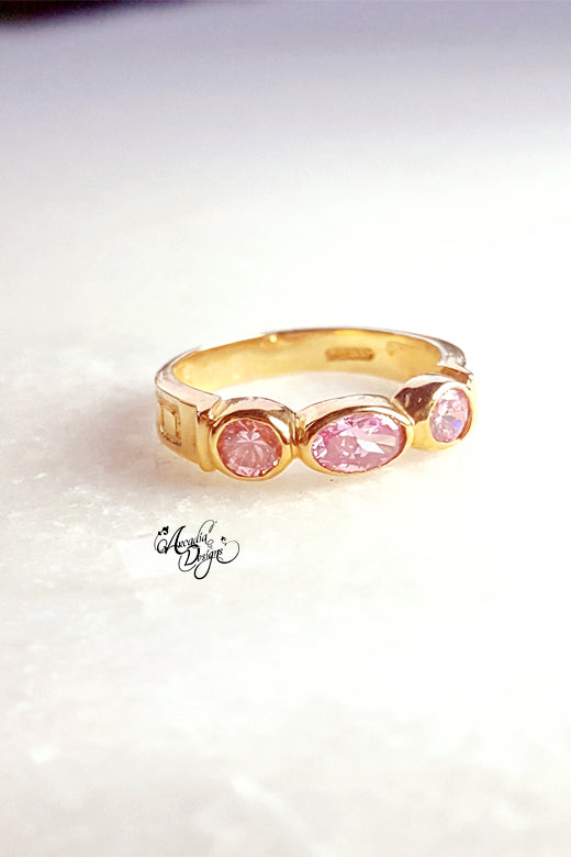 Arcadia Designs rose quartz pink gemstone Crystal Gold Ring Modern Gem Ring Bridal Accessories Bridesmaid Gift