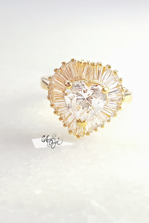 Arcadia Designs Clear Quartz Radiant Golden Ring April Birthstone Heart Shape Crystal Stone statement Ring