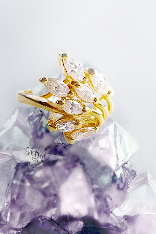 Arcadia Designs Shooting Star Gemstone Crystal Quartz Gold Ring art deco Gem