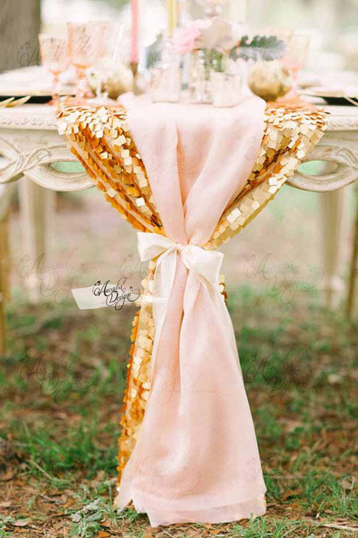 arcadia designs Gold Sequin & Pink Chiffon Overlay Runner