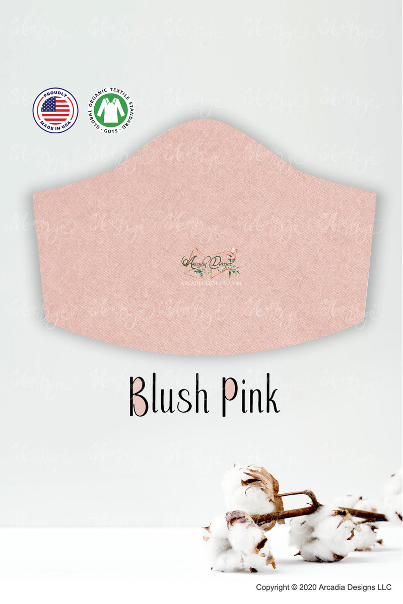 blush pink organic cotton filter pocket face mask for girls by arcadia designs llc