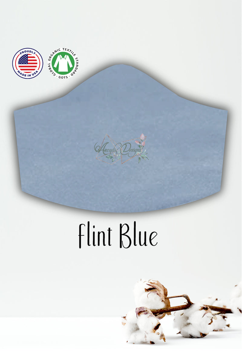 flint blue GOTS certified Organic Cotton cloth face mask with nose wire head tie by Arcadia Designs LLC handmade made in USA
