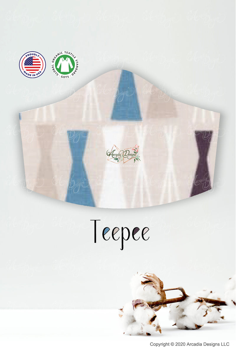 teepee trianglar patternGOTS certified Organic Cotton cloth face mask with nose wire head tie by Arcadia Designs LLC handmade made in USA