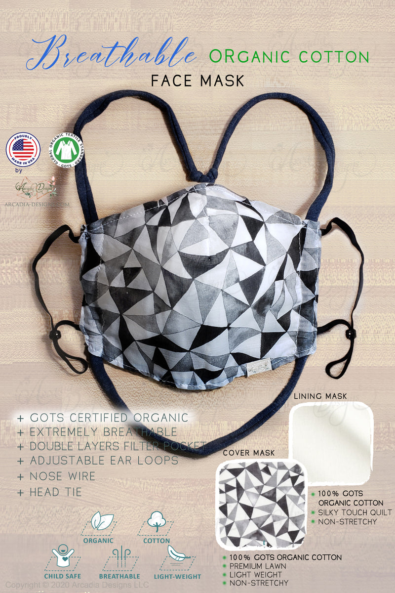 Black grey diamond triangle pattern breathable GOTS certified Organic Cotton cloth face mask with nose wire head tie by Arcadia Designs LLC handmade made in USA