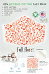 peach pink fall floret GOTS certified Organic Cotton cloth face mask with nose wire head tie by Arcadia Designs LLC handmade made in USA