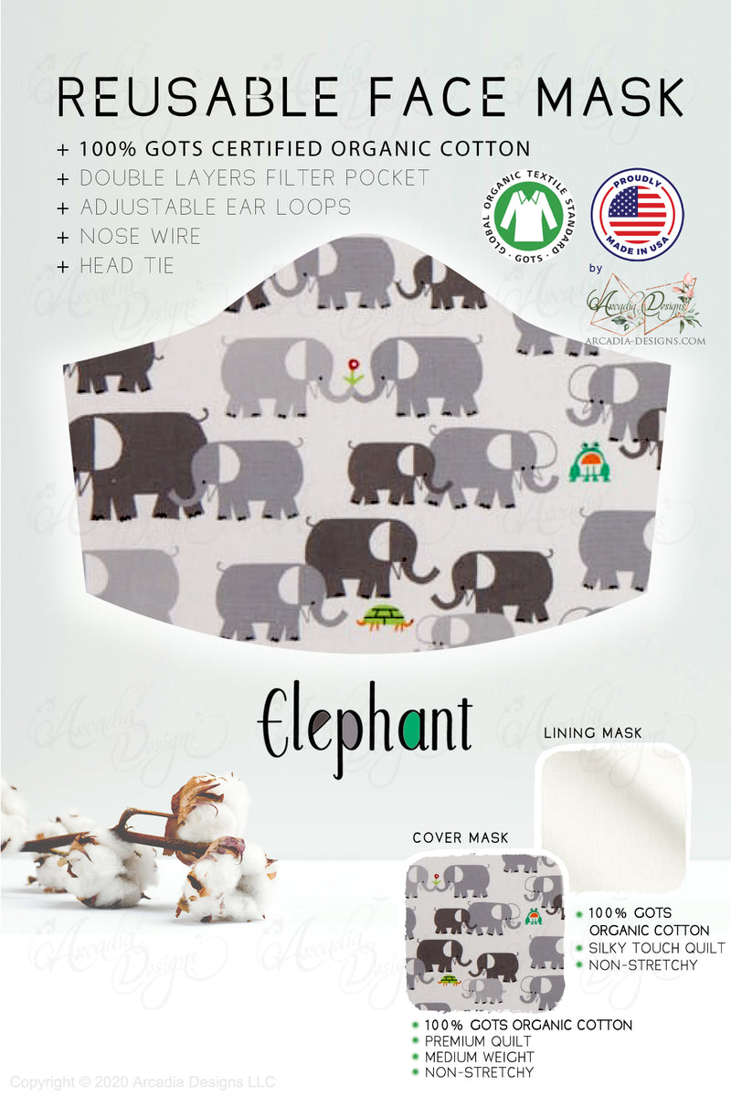 grey elephant GOTS certified Organic Cotton cloth face mask with nose wire head tie by Arcadia Designs LLC handmade made in USA