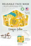 yellow giraffe forest GOTS certified Organic Cotton cloth face mask with nose wire head tie by Arcadia Designs LLC handmade made in USA