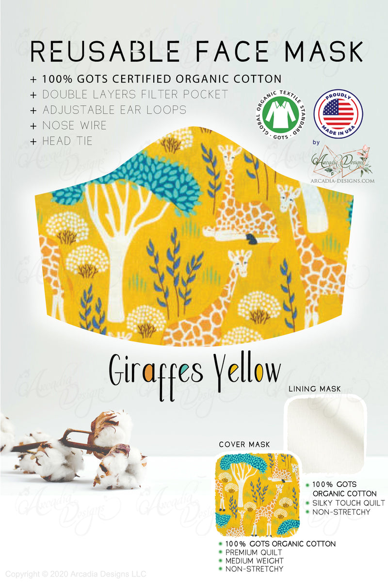 yellow giraffe made in usa organic cotton filter pocket face mask for girls by arcadia designs llc
