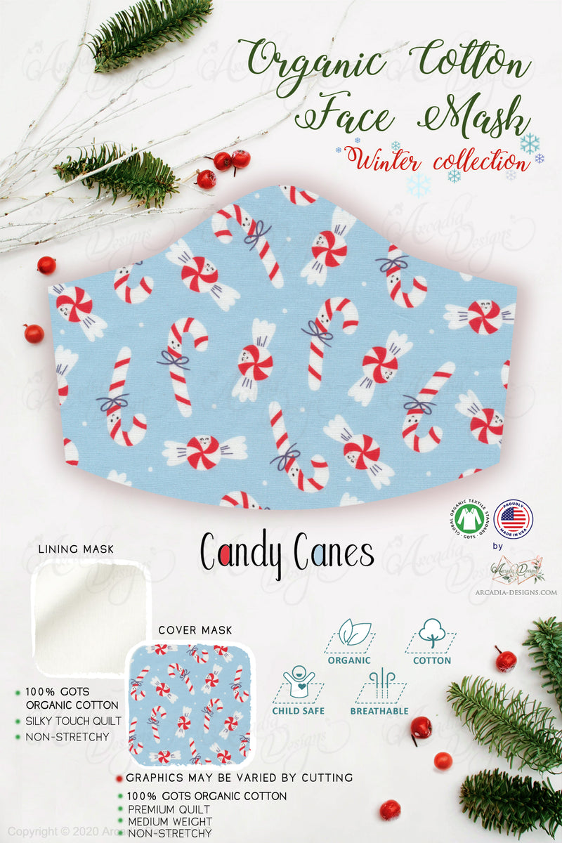 Candy sweet Cane Christmas Winter holiday style pinecone teal winter holiday christmas theme GOTS certified Organic Cotton cloth face mask with nose wire head tie by Arcadia Designs LLC handmade  made in USA