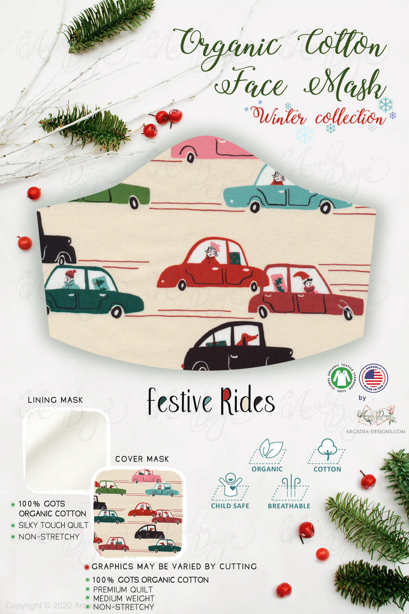 festive rides holiday rush red cars  Christmas Winter holiday style pinecone teal winter holiday christmas theme GOTS certified Organic Cotton cloth face mask with nose wire head tie by Arcadia Designs LLC handmade  made in USA