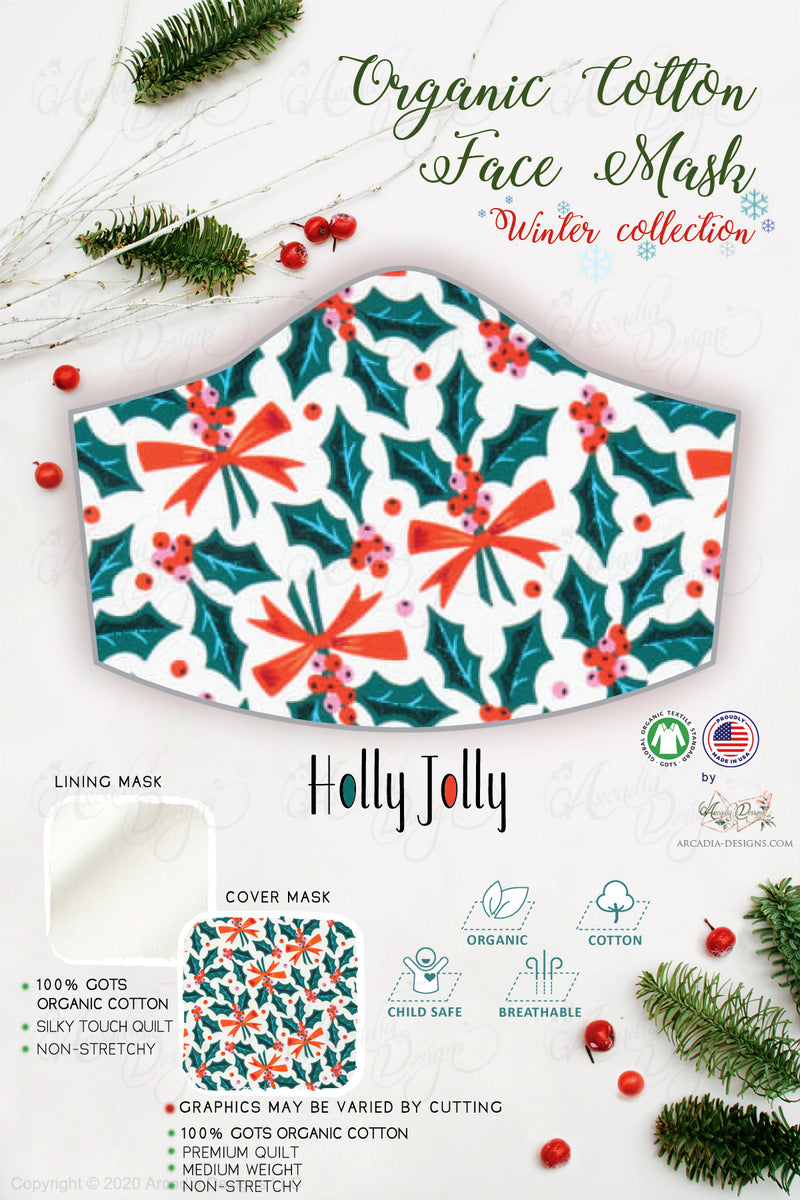 holly jolly  Christmas Winter holiday style pinecone teal winter holiday christmas theme GOTS certified Organic Cotton cloth face mask with nose wire head tie by Arcadia Designs LLC handmade  made in USA