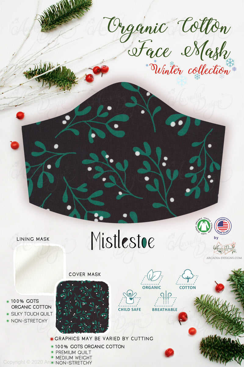 mistlestoe green black  Christmas Winter holiday style pinecone teal winter holiday christmas theme GOTS certified Organic Cotton cloth face mask with nose wire head tie by Arcadia Designs LLC handmade  made in USA