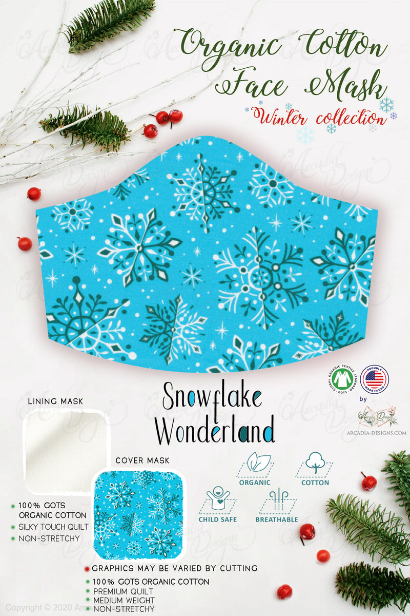 snowflake blue snowing wonderland  Christmas Winter holiday style pinecone teal winter holiday christmas theme GOTS certified Organic Cotton cloth face mask with nose wire head tie by Arcadia Designs LLC handmade  made in USA