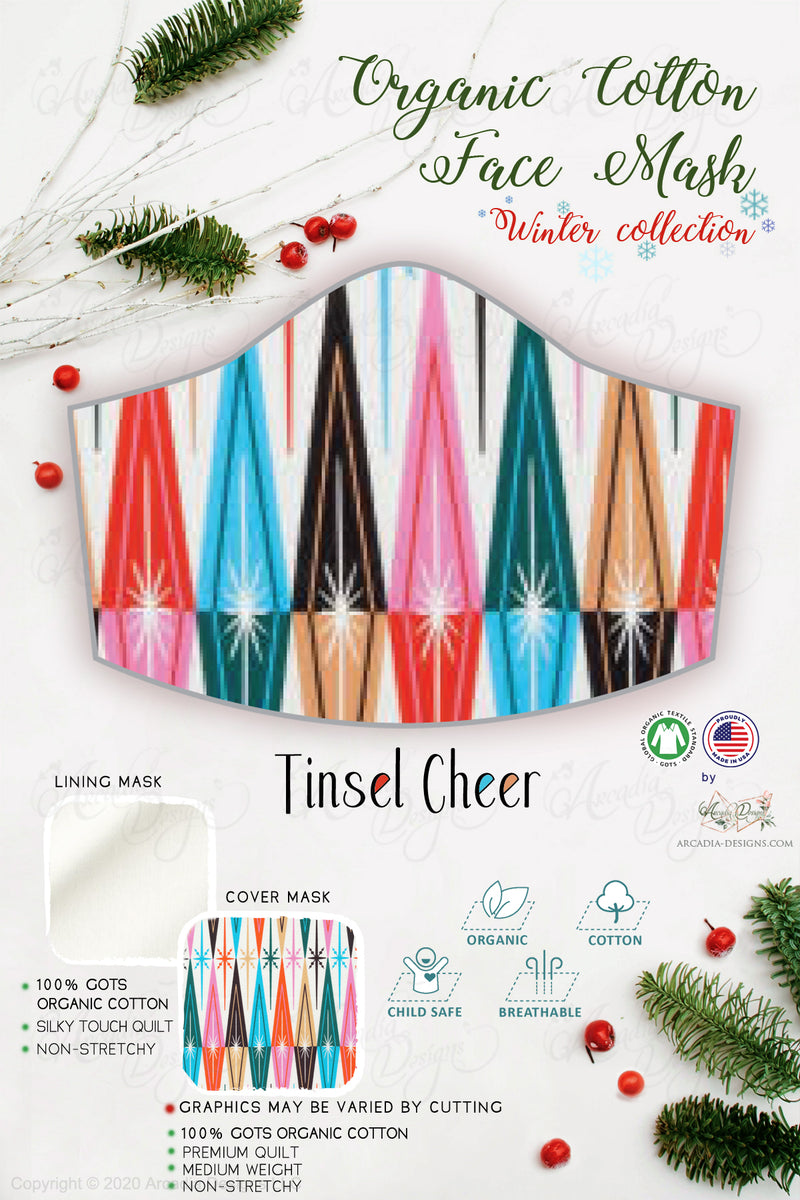 tinsel cheer  Christmas Winter holiday style pinecone teal winter holiday christmas theme GOTS certified Organic Cotton cloth face mask with nose wire head tie by Arcadia Designs LLC handmade  made in USA