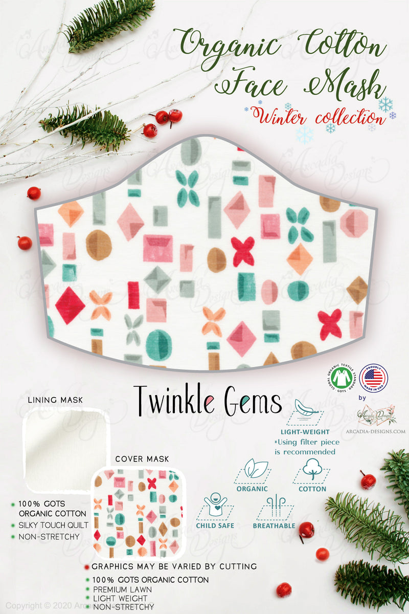 twinkle gems Christmas Winter holiday style pinecone teal winter holiday christmas theme GOTS certified Organic Cotton cloth face mask with nose wire head tie by Arcadia Designs LLC handmade  made in USA