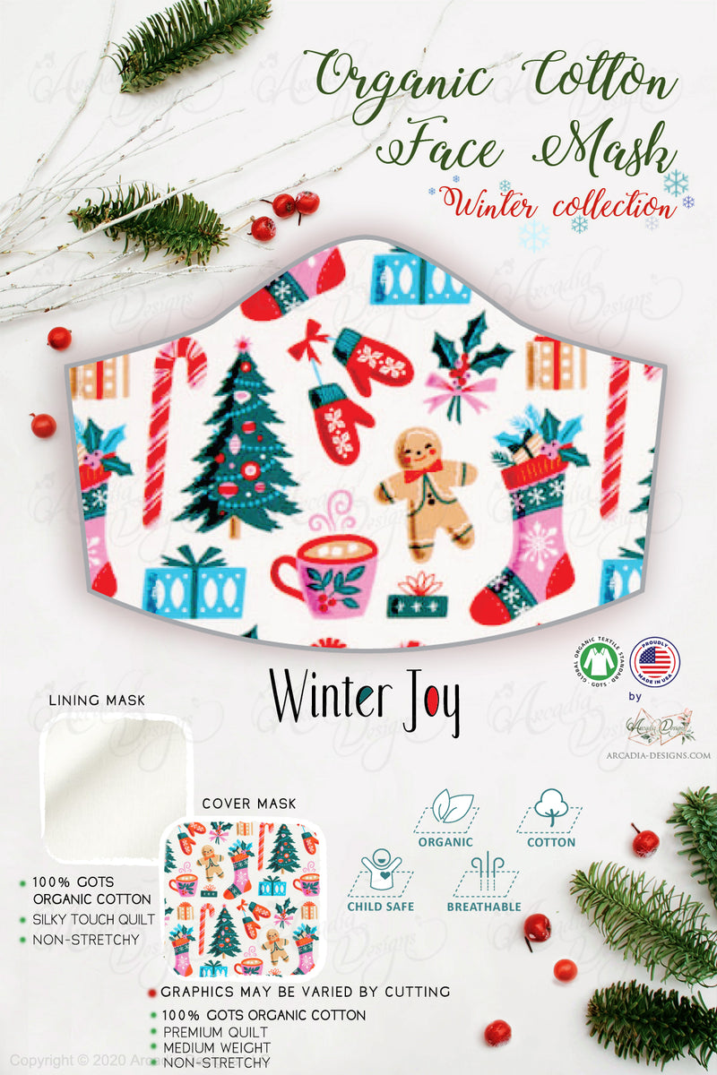 winter joy Christmas tree stocking sock ginger bread gift Winter holiday style pinecone teal winter holiday christmas theme GOTS certified Organic Cotton cloth face mask with nose wire head tie by Arcadia Designs LLC handmade  made in USA