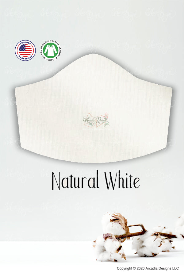natural white GOTS certified Organic Cotton cloth face mask with nose wire head tie by Arcadia Designs LLC handmade made in USA