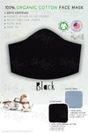 plain solid black GOTS certified Organic Cotton cloth face mask with nose wire head tie by Arcadia Designs LLC handmade made in USA