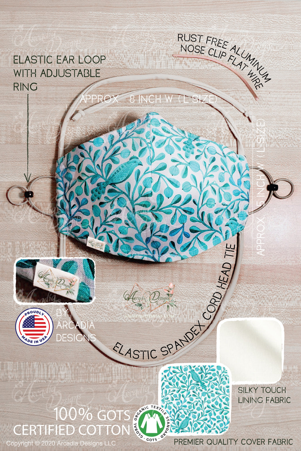 Tiffany bird GOTS certified Organic Cotton cloth face mask with nose wire head tie by Arcadia Designs LLC handmade  made in USA